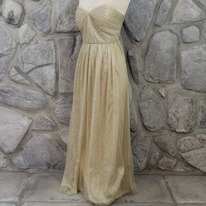 Jenny Yoo Gold Metallic Formal Dress